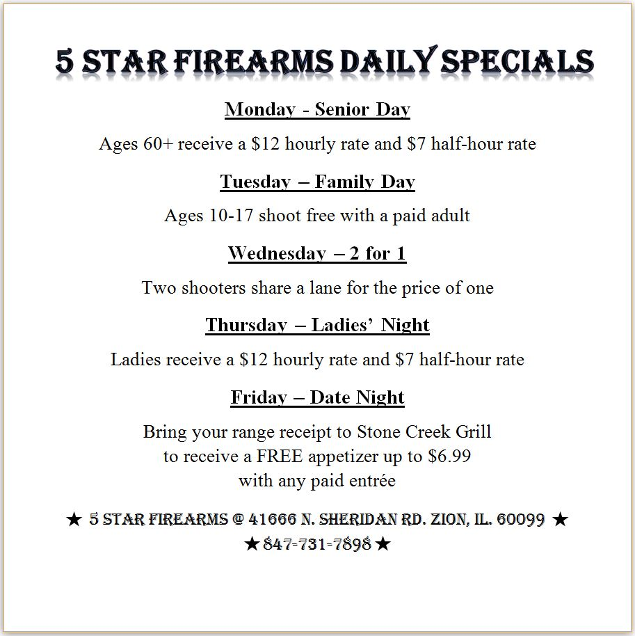 5 Star Daily Specials