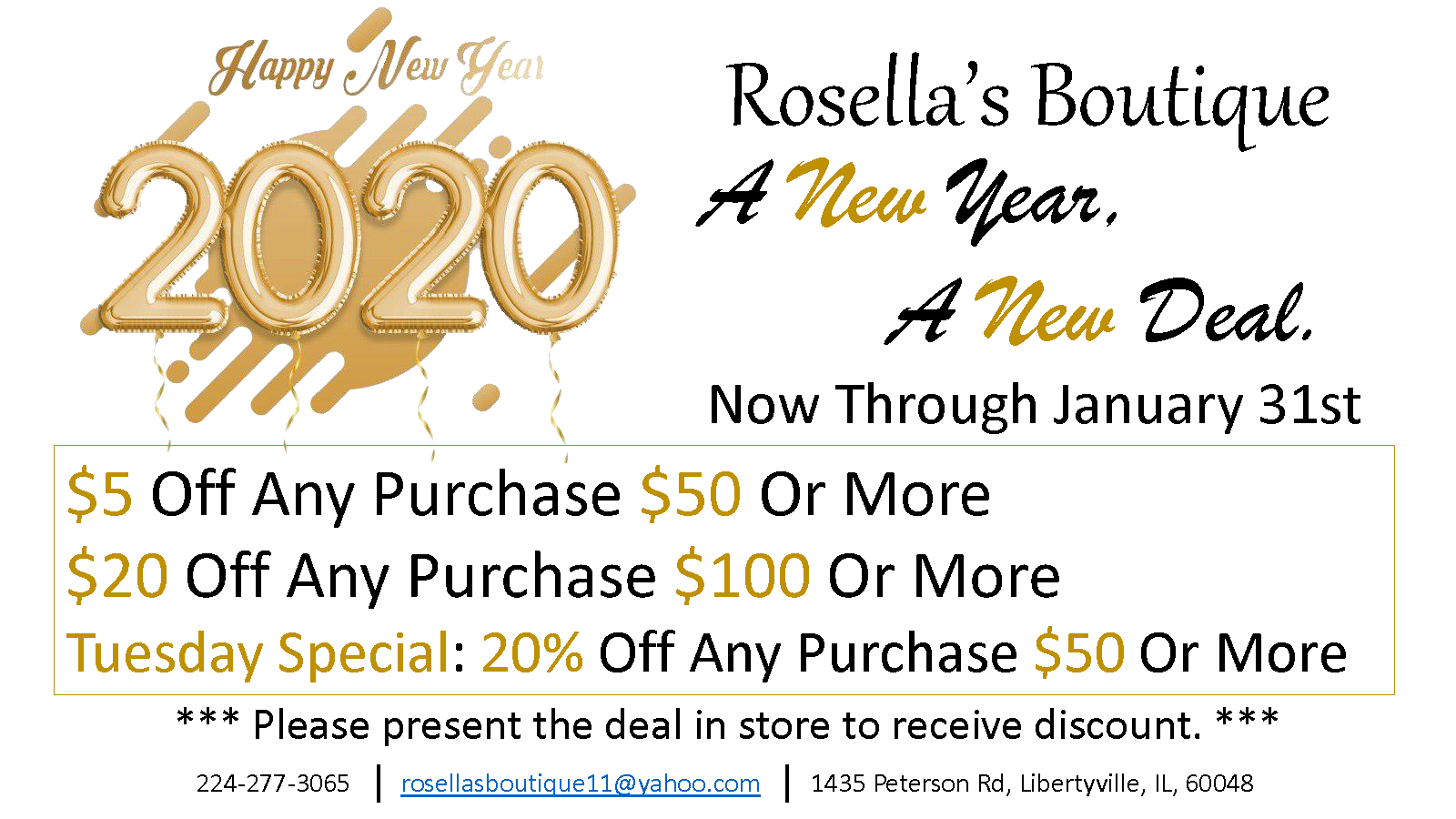 New Year's Sale at Rosella's Boutique