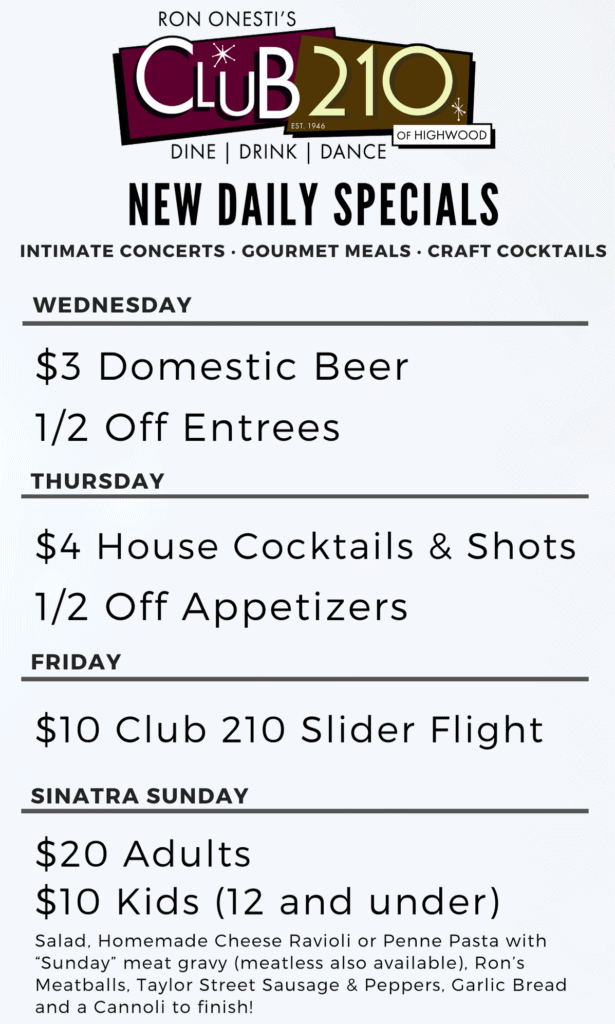 Club 210 - Daily  Specials