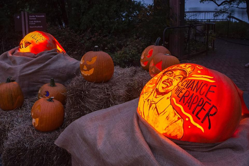 Hand-carved pumpkins light up the night