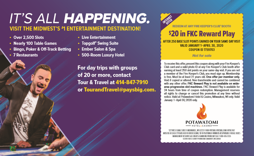 $20 in FKC Reward Play at Potawatomi