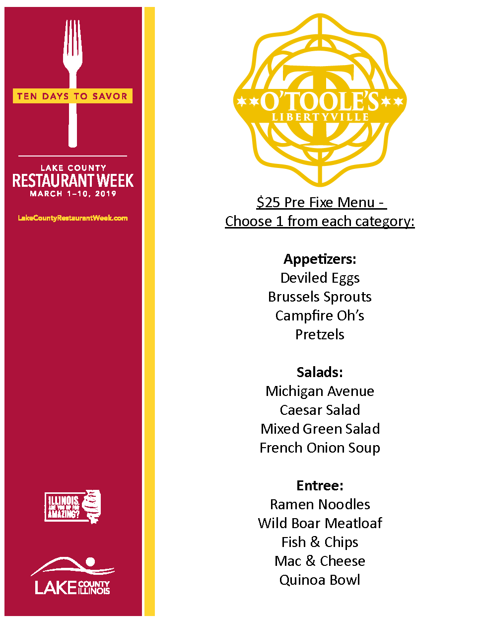 O'Toole's Libertyville Menu