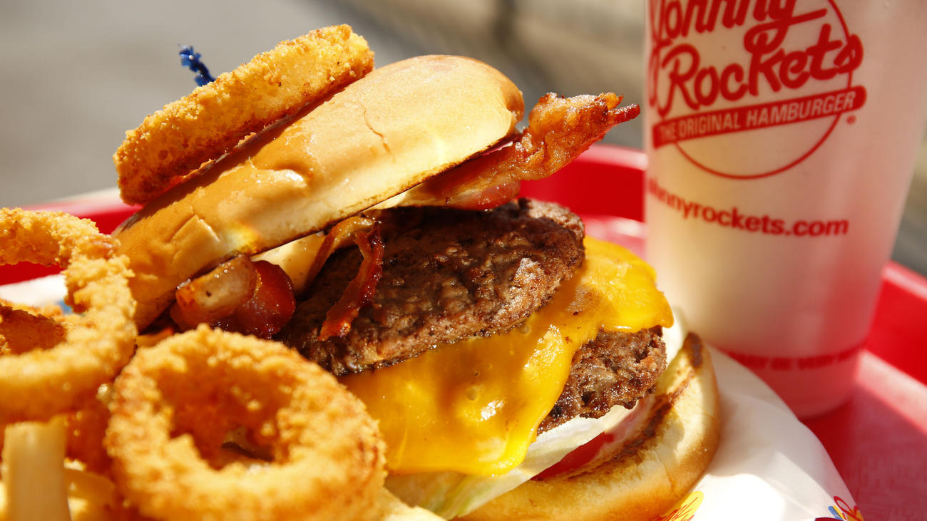 double cheeseburger at Johnny Rockets