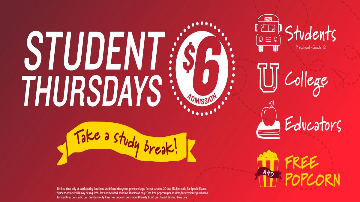 $6 Student Thursdays at Gurnee Cinema, Gurnee Mills