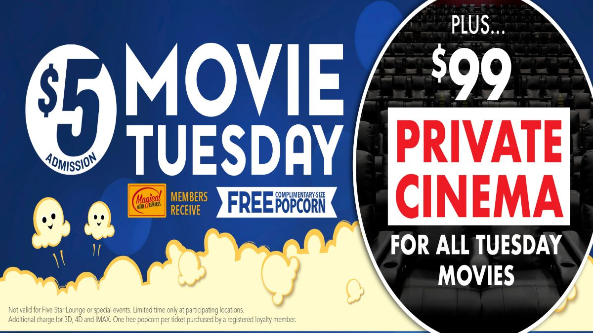 $5 Movie Tuesday at Gurnee Cinema, Gurnee Mills