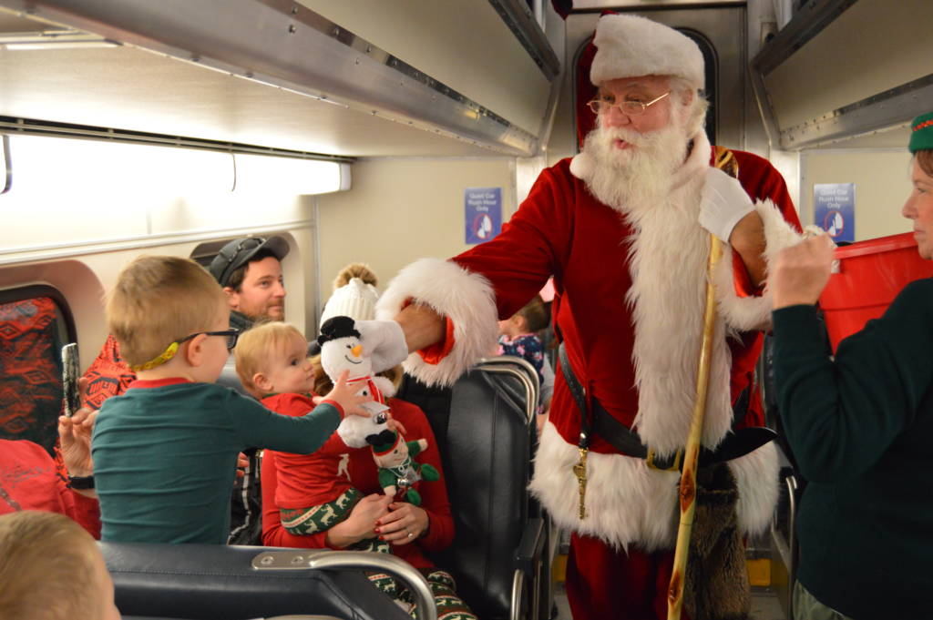 Santa on the Polar Express Story Time Train in Mundelein