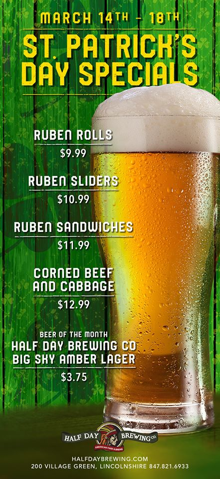 St. Pat's Week Specials at Half Day Brewing Company