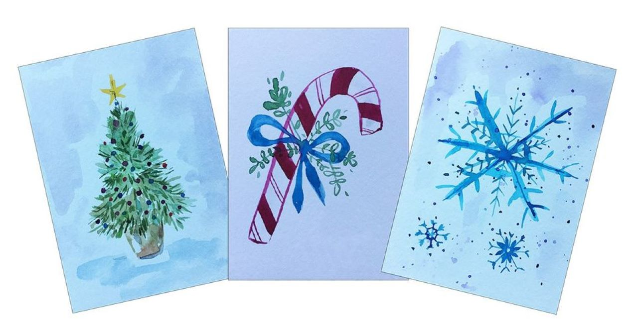 Online Watercolor Holiday Cards Painting Class
